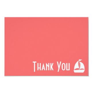Sailboat Thank You Note Cards (Coral) 9 Cm X 13 Cm Invitation Card