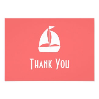 Sailboat Thank You Note Cards (Coral) Custom Announcements