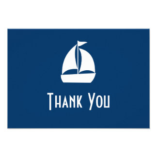 Sailboat Thank You Note Cards Dark Blue Personalized Invitation