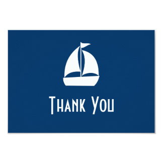 Sailboat Thank You Note Cards (Dark Blue) Personalized Invitation