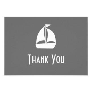 Sailboat Thank You Note Cards Dark Gray Custom Invites