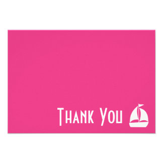 Sailboat Thank You Note Cards Dark Pink Announcement
