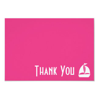 Sailboat Thank You Note Cards (Dark Pink) 9 Cm X 13 Cm Invitation Card