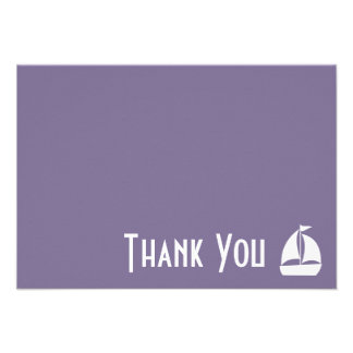 Sailboat Thank You Note Cards (Eggplant Purple) Personalized Invites