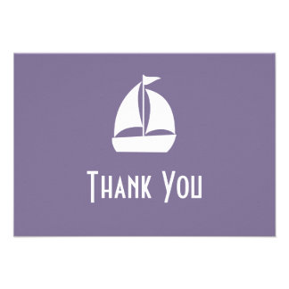 Sailboat Thank You Note Cards (Eggplant Purple) Custom Announcements