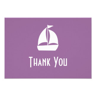 Sailboat Thank You Note Cards Eggplant Purple Personalized Invites