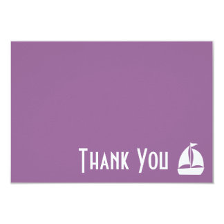 Sailboat Thank You Note Cards (Eggplant Purple) 9 Cm X 13 Cm Invitation Card