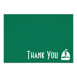 Sailboat Thank You Note Cards (Green) 9 Cm X 13 Cm Invitation Card