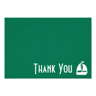 Sailboat Thank You Note Cards Green Invitations