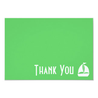 Sailboat Thank You Note Cards (Lime Green) 9 Cm X 13 Cm Invitation Card