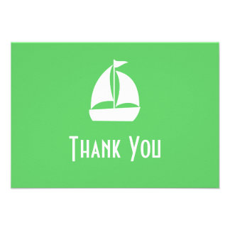 Sailboat Thank You Note Cards Lime Green Custom Invites
