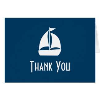 Sailboat Thank You Note Cards (Navy Blue)