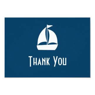 Sailboat Thank You Note Cards (Navy Blue) 9 Cm X 13 Cm Invitation Card
