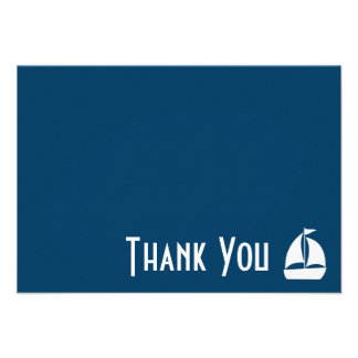 Sailboat Thank You Note Cards Navy Blue Custom Invites