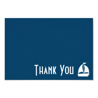 "Sailboat Thank You Note Cards (Navy Blue) 3.5"" X 5"" Invitation Card"