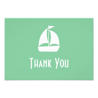 Sailboat Thank You Note Cards Pale Mint Green Custom Announcements