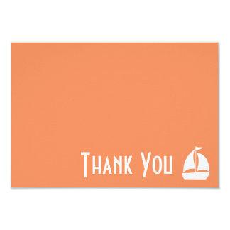 Sailboat Thank You Note Cards (Pale Orange) 9 Cm X 13 Cm Invitation Card