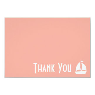 Sailboat Thank You Note Cards (Peach) 9 Cm X 13 Cm Invitation Card