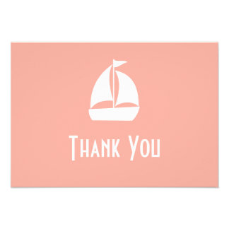 Sailboat Thank You Note Cards Peach Personalized Invites