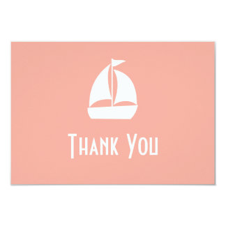"Sailboat Thank You Note Cards (Peach) 3.5"" X 5"" Invitation Card"