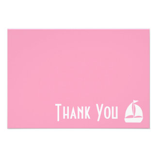 Sailboat Thank You Note Cards (Pink) Personalized Invitations