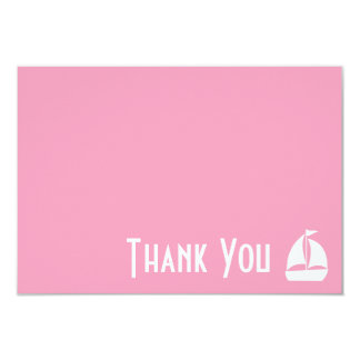 Sailboat Thank You Note Cards (Pink) 9 Cm X 13 Cm Invitation Card
