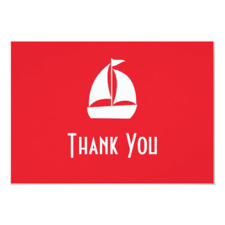 Sailboat Thank You Note Cards (Red) 9 Cm X 13 Cm Invitation Card