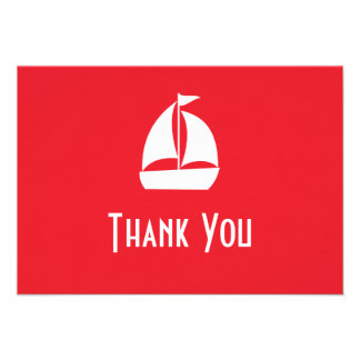 Sailboat Thank You Note Cards Red Custom Announcement