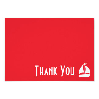 "Sailboat Thank You Note Cards (Red) 3.5"" X 5"" Invitation Card"