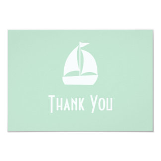 Sailboat Thank You Note Cards (Sage Green) 9 Cm X 13 Cm Invitation Card