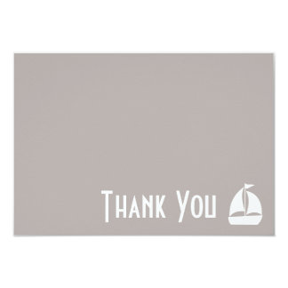 Sailboat Thank You Note Cards (Sand) 9 Cm X 13 Cm Invitation Card
