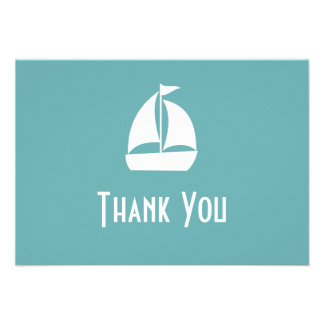 Sailboat Thank You Note Cards Sea Foam Green Personalized Invitations