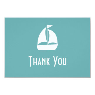 "Sailboat Thank You Note Cards (Sea Foam Green) 3.5"" X 5"" Invitation Card"