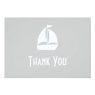 Sailboat Thank You Note Cards (Silver) 9 Cm X 13 Cm Invitation Card