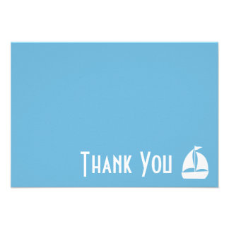 Sailboat Thank You Note Cards Sky Blue Personalized Invite