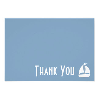 Sailboat Thank You Note Cards Steel Blue Gray Invitations
