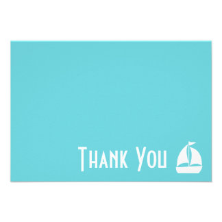 Sailboat Thank You Note Cards Teal Personalized Invitations