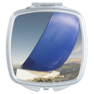 Sailboat Tipping In Wind Travel Mirror