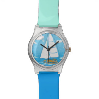 Sailboat Turquoise and Blue Wristwatch