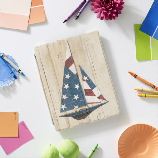 Sailboat With American Flag iPad Cover
