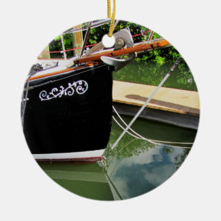 Sailboat with Bow Sprit and Reflections in Water Round Ceramic Decoration
