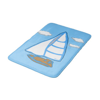 Sailboat with Clouds Light Blue Nautical Bath Mat