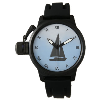 Sailboat with Roman Numbers Wristwatch