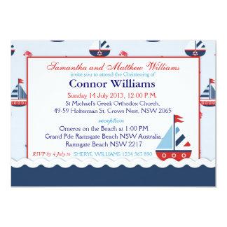 Sailboats, Anchors, and Crabs Nautical Baptism 13 Cm X 18 Cm Invitation Card