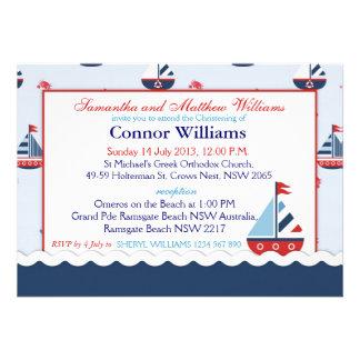 Sailboats Anchors and Crabs Nautical Baptism Custom Invites