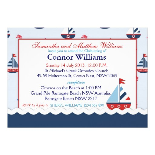 Sailboats, Anchors, and Crabs Nautical Baptism Custom Invites