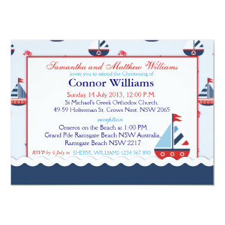 Sailboats, Anchors, and Crabs Nautical Baptism 13 Cm X 18 Cm Invitation Card