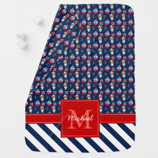 Sailboats and Bears Pattern Monogrammed Baby Blanket