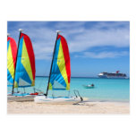 Sailboats and cruise ship in Caribbean Postcards