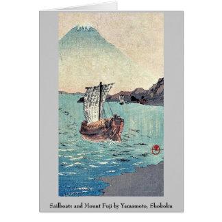 Sailboats and Mount Fuji by Yamamoto, Shokoku Note Card